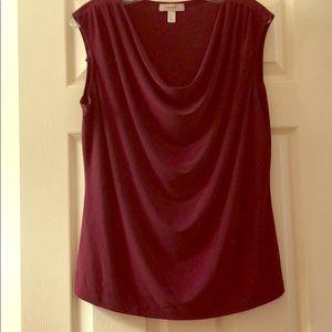 Sleeveless Maroon Scoop Neck Shirt.